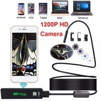 8mm 8leds WiFi HD 1200P Endoscópio Câmera USB IP68 impermeável Borescópio Semi Rígido Tubo Sem Fio Video Inspeção Câmera para Android / Ios