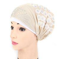 Bere / Kafatası Kapaklar Yaz Ince Dantel Türban Katı Pamuk İç Yumuşak Glitter Müslüman Kadınlar Turbante Bonnet Wrap Kafa Underscarf Cap