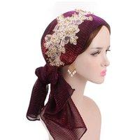 fashion colorful silk folds Muslim headscarf Skull-Caps trend ethnic style golden bead lace hats woman scarf multicolor skull gauze head hat