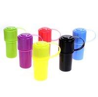 Plastikflasche Mühle Glas Stash Abrader Raucher Werkzeug Zubehör Handtabak Herb Fall Aufbewahrungsschleifer Brecher 6 Farben