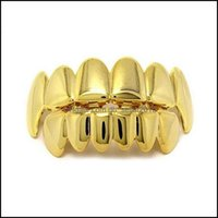 Grillz, Dental Body Jewelrygrillz Teeth Set High Quality Mens Hip Hop Jewelry Real Gold Plated Grills Drop Delivery 2021 4Xozw