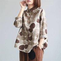 FJE New Spring Women Camisas Plus Size Longo Manga Algodão Botão Casual Camisas Vintage Polka Dot Imprimir Blusas Vintage P11 201028
