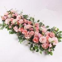 Dekorative Blumen 100 cm DIY Hochzeit Blume Wandanordnung Lieferungen Seidenpfingstrogs Rose Künstliche Reihe Dekor Eisen Bogen Hintergrund