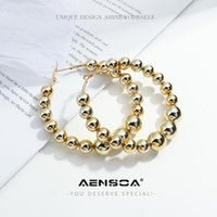 Hoop & Huggie AENSOA 2021 Big Circle Round Earrings For Women's Fashion Statement Gold Color Punk Beaded Charm Party Jewelry