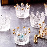 Lindo Cristal Transparente Crown Crown Cigarette Cenicero Soporte de vela Estilo Europeo Ornamento de escritorio Ornamento Organizador de la joyería