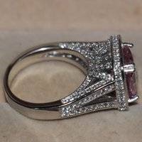 럭셔리 쥬얼리 14kt 화이트 골드 가득 찬 큰 분홍색 5A 입방 지르코니아 강학생의 탄생석 여성 결혼 반지