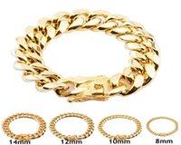 8mm 10mm 12mm 14mm 16mm 18mm Mens 18K Gold Plated Stainless Steel Bracelets High Polished Miami Cuban Link Punk Curb Gold Bracelets