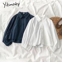 Yitimoky белая блузка женщины кнопка harajuku рубашка корейский мода одежда винтаж с длинным рукавом фонарь 2021 сплошной весну вершины