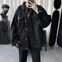 GODLIKEU Denim Jeans Jacket Men Spring Autumn Long Sleeve Black Oversized Harajuku Clothing Fashion Korean Tops