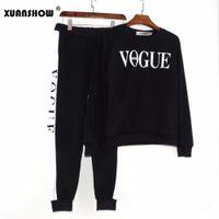 Xuanshow Herbst Winter 2 Stück Set Frauen Vogue Buchstaben Gedruckt Sweatshirt + Hosen Anzug Trainingsanzüge Langarm Sportswear Outfit T200825