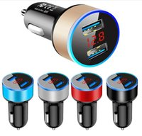 Dual USB Car Chargers 2.4A LED Display Cigarette Lighters Fast Charger Power Auto Lighter Adapter