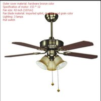 LED ceiling fans lamp brown color wood 3 light 4pcs of Blades 110-220V 42 Inch 108cm Pull switch