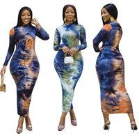 Casual Dresses Tie Dye Printed Ruch Drawstring Wrap Dress Woman Outfits Long Sleeve Sheath Retro Backless Robe Femme Streetwear