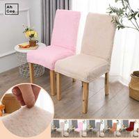 Стул охватывает белый бархатный чехол из искусственной плюшевой эластичной спандекса стягивает домашний стулья для кухонной подушки