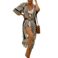 Women's Swimwear 2021 Long Swimsuit Cover Up Half Sleeve Floral Crochet Open Front Kimono Beach Cardigan Wear Ladies Summer Cover-Ups