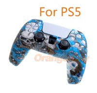 For PS5 Silicone Controller Protective Shell Camouflage Watercolor Case Protective Cover for PlayStation 5 Game Controller