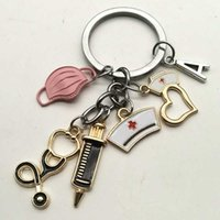 A-Z Letters, New Designed Keychain Doctor Tool Stethoscope Injection Mask Key Ring Nurse Medical Gift Souvenir