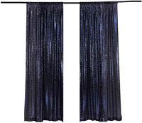 Décoration de la fête LQIAO PLACEAU Panneau de rideau de toile de fond 2x8ft-bleu marine, pographie de paillettes pour la fête / maison 2pcs