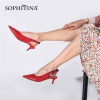 Sophitina مضخات المرأة الأحمر أشار تو منتصف القط رقيقة كعب جديد الأزياء فراشة عقدة مثير مكتب العمل سيدة الأحذية PC705 210310
