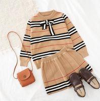 2021 весна осень новое поступление девушки вязаные 2 штуки костюм топ + юбка детская одежда для девочек одежда