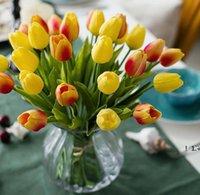 Newpu 인공 꽃 실크 튤립 진짜 터치 꽃 미니 튤립 결혼식 장식 꽃다발 결혼식 장식 홈 장식 EWD6331