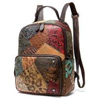 2021 schoolbag Baotou satchel leather backpack women's shoulder bags contrast color handmade large volume back tide
