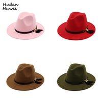 남성 여성을위한 새로운 패션 탑 모자 우아한 패션 솔리드 Fedora 모자 밴드 와이드 플랫 브림 재즈 모자 세련된 Trilby 파나마 모자 114 U2