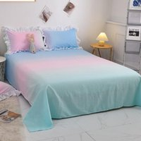 Sheets & Sets 3pcs Set Candy Gradient Color Bedsheet Single Queen Size Soft Sanding Flat Sheet Fashion Bed With 2pcs Lace Case
