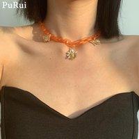 Collane del pendente Purui Purui Punk Collana a farfalla acrilica per le donne Hiphop Flower Clavicle Catena Decorso Gioielli roccia
