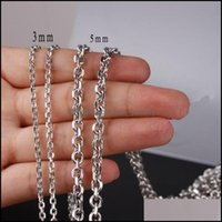 Chains Necklaces & Pendants Jewelrychains 2 3 4 5Mm Fashion Diy Jewelry 316L Stainless Steel Sier Color Cross Chain Men Womens Necklace High