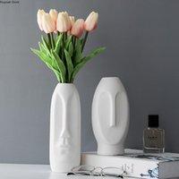Vasi viso umano vaso in ceramica vaso artificiale ornamenti a disposizione dei fiori artificiali stoare astratto decorazione della casa accessori