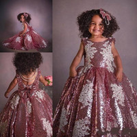 2021 Cute Dusty Rose Gold Party Graduation Dresses Toddlers Applique Pearls Bateau Flower Gilr Dress For Wedding Formal Evening Gowns Teens