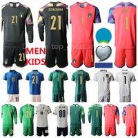 이탈리아 골키퍼 축구 1 시가 저지 21 Gianluigi Donnarumma Buffon 긴 소매 세트 축구 셔츠 키트 골키퍼 국립 팀 유럽 컵 남자 아이들