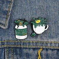 Femmes Vert Plante Potouche Broches Broches Tea Bag Fleur Jaune Fleurs Cowboy Unisexe Vêtements Anti-Light Boucle Badge Badge Badge Bijoux Accessoires 20 Morceau / Lot