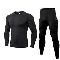 Koşu Setleri Fanceey Erkekler Sıkıştırma Tshirt Spor Sıkı Uzun Kollu Spor Gömlek Katı Renkli Giysi Eğitim Gömlek Hızlı Day