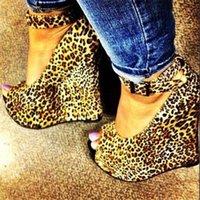 El yapımı Wadge Topuklu Peep-Toe Bayan Elbise Ayakkabı Leopar Deri Toka Ayak Bileği Kayışı Seksi Akşam Kulübü Moda Günlük Giyim Pompaları D573