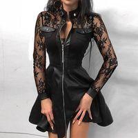 Casual Dresses Zipper Elegant Stand Neck Metal Button Mini Dress Women Vintage Print Pu Leather Autumn Long Sleeve Party