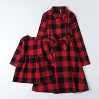 Christmas Plaid Mother Daughter Matching Dresses Mommy and Me Clothes Mom Baby Woman Girls Dress Spring Family Matching Outfits 210317