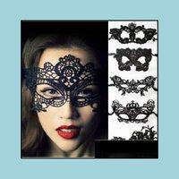 Suministros festivos Home Garden Masks 1 unids Ojo Maquillaje Partido Hueco Encaje Velo Halloween Girl Masquerade Carnaval Mujeres Máscara Bar Nightclub Faci