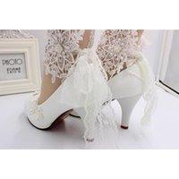 Dress Shoes BaoYaFang Bridal Wedding White High Heels Lace Bridesmaid