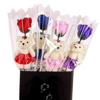 A 5 قطع جميل دمية دب الصابون الورود رومانسية الاصطناعي زهرة باقة معطرة عيد الحب هدية عيد المنزل الديكور