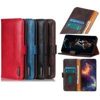 Caja de cartera de cuero de PU clásico Flip tapa para iPhone 11 x 7 8 con caja de soporte de ranura para tarjeta Samsung Huawei Moto 4 colores opcional