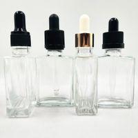 Quadratische E-Liquid-Glasflaschen 30ml mit klarem Glas-Dropper-Behälter für ätherische Öl- und Aromatherapie 1oz 400pcs los