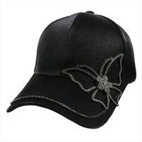 Fashion Black Rhinestone Butterfly Baseball Cap Girls Women Snapback Hip Hop Sun Hat