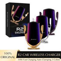 r2 스마트 센서 유도 자동차 마운트 무선 충전기 아이폰 12 미니 프로 최대 XS 최대 빠른 충전 홀드 스탠드 공기 배출 전화 홀더