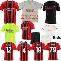 21 22 Milão Ibrahimovic Soccer Jersey Manga Longa AC Milão 2021 2022 Camisa de Futebol Equipamento para crianças Rebic Camiseta de Futbol Romagnoli Kits