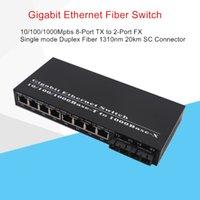 Gigabit Fiber Ethernet Interruptor 8 Porta TX para 2-Porta FX 10/100 / 1000MBPS SMF DX Fibre Converter Comprimento de Onda 1310NM 20KM SC conector