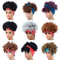 Bandeau Synthétique Synthétique Afro Kinky Simulation Simulation Cheveux humains Perruques de Cheveux Humains avec la tête BANG BANG BAND-001