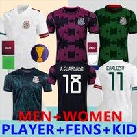 S - 4XL 2021 축구 유니폼 팬 Concacaf 골드 컵 Camisetas 2122 멕시코 팬 선수 버전 남성 여성 아이 슈트 Chicharito Lozano Dos Santos National Football Shirts