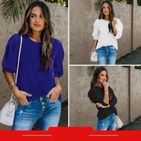 Women's Blouses & Shirts Fashion Women Summer Solid Color Chiffon Top Patchwork Design O-Neck Half Puff Sleeve Loose Pullovers For Streetwea
